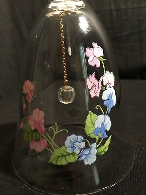 Vintage Avon April 1986 Birthday Bell Lead Crystal Sweet Pea Collectible EUC