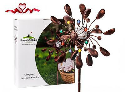 SteadyDoggie Solar Wind Spinner New 75in Jewel Cup Multi-Color LED Light...