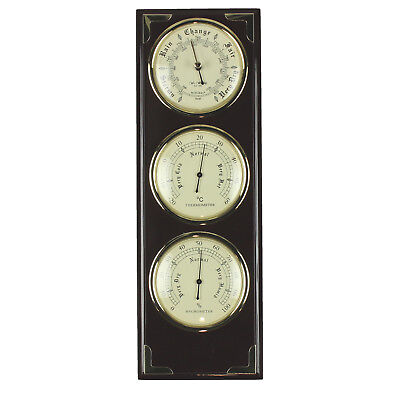 SALE Wall Mounted Polished Wood Barometer Thermometer Hygrometer Weather Station