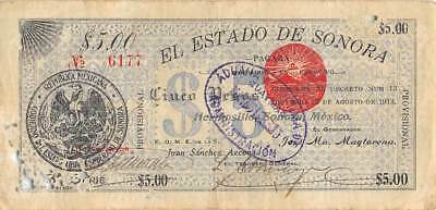 Mexico / Sonora    $5  Pesos   27.8.1913   3rd.  Series   Circulated Banknote