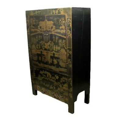 Oriental Chinese Antique Two Door Cabinet with Traditional Hand Painted Scenery