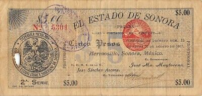 Mexico / Sonora    $5  Pesos   27.8.1913   2nd.  Series   Circulated Banknote