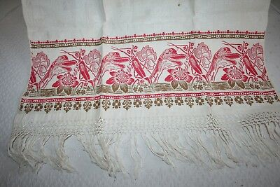 Vtg antique show towel with goose head, bug and flower fringed.