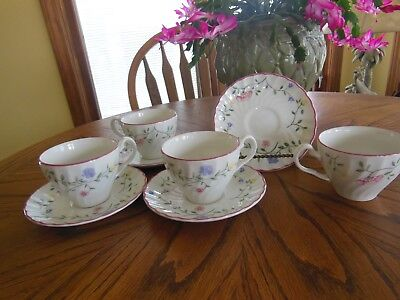 SET OF FOUR - Johnson Bros SUMMER CHINTZ Cup & Saucer Sets -ENGLAND