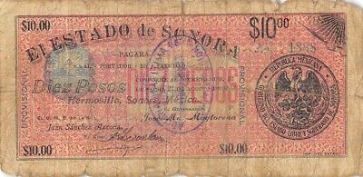Mexico / Sonora    $10  Pesos   27.8.1913   1st.  Series   Circulated Banknote