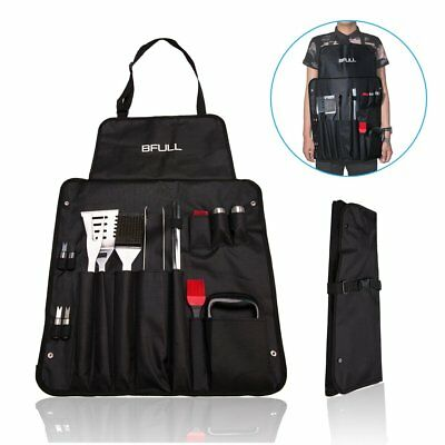 Stainless Steel BBQ Barbecue Utensils Grill Tools Kit Set of 21 in Carry Apron