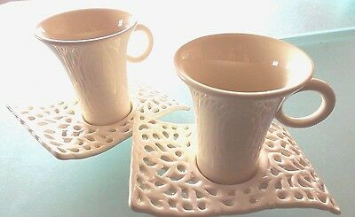 2 Stylish Cups And Saucers Off-White/cream