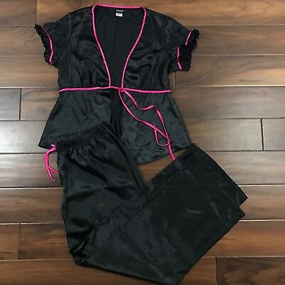 Fredericks of Hollywood Womens Large Black Pink 2 Piece Pajamas Sleep Top Pants