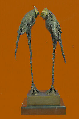 Hand Made Numbered Edition Original Abstract Modern Parrots Bronze Sculpture UG