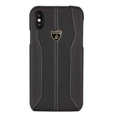 Lamborghini Huracan-D1 Genuine Leather Back Сase for iPhone X, iPhone Xs Black