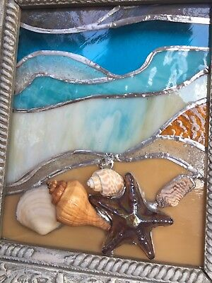 Hand Crafted STAINED GLASS Nautical Beach Sea Shells Antique Framed Window