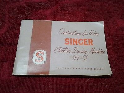 Vintage 1955 Singer Electric Sewing Machine Manual for Model 99-31 Books