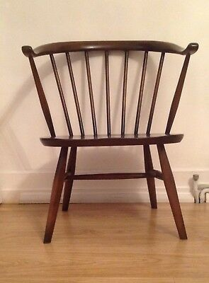 Ercol Fireside Stickback Armchair Classic Cowhorn Arms & Oyster Shaped Seat