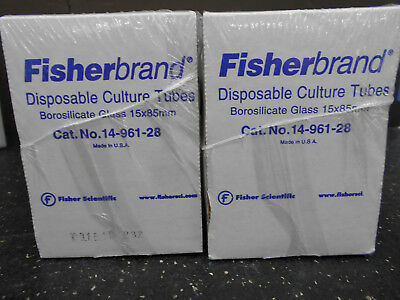 LOT OF 2 FISHERBRAND 14-961-28 DISPOSABLE BOROSILICATE 13ML GLASS TUBE 15 X 85m