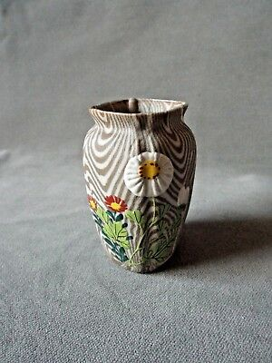 Antique Japanese Small BANKO WARE CLAY VASE w/ Flowers Daisy's & Chrysanthemums