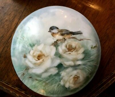 Lovely Handpainted Round Porcelain Box with Birds by Mary Ellen Haggerty
