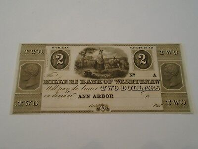 $2 Millers Bank Of Washtenaw Ann Arbor Michigan Obsolete U.S. Note 18XX Unissued