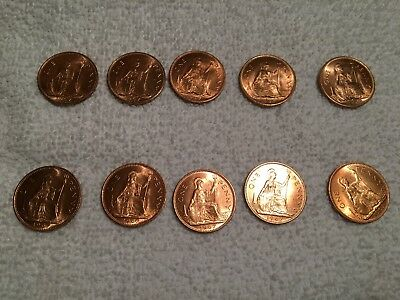 Nice Lot of 10 Red 1967 British Pennies!! Last Year of Issue!!