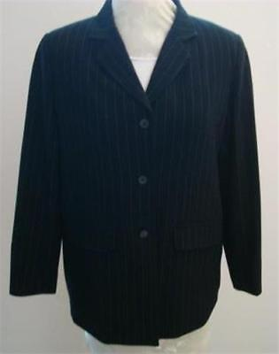 Liz Lange Maternity Sz 6 Black/White Stretch P/R Stripe 3/4 Slv Lined Blazer