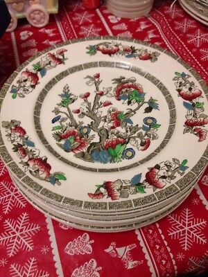 "JOHNSON BROS. 10 INDIAN TREE' PATTERN HAND ENGRAVED IRONSTONE 8"" Salad PLATES"