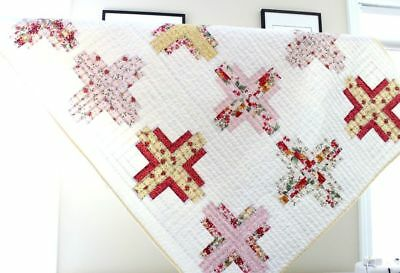 FLORAL LOG CABIN ~ New Handmade Baby Girl / Toddler Crib Quilt