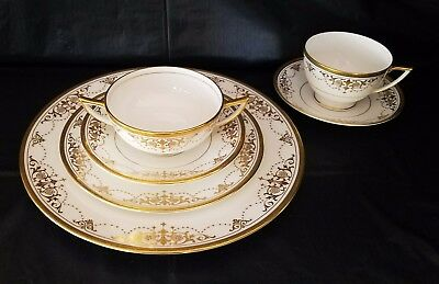 Antique & Pristine  Minton 72pc Bone China -Encrusted Gold - Harrods of London
