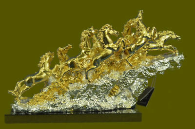 Hand Made 24K GOLD PLATED EIGHT MUSTANG HORSES BRONZE STATUE ABSTRACT MODERN