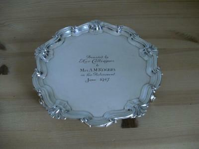 SUPERB STERLING SILVER SALVER CARD TRAY DISH London 1898