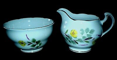 ROYAL VALE Yellow Buttercup RIDGWAY Bone China Jug + Sugar Bowl c1960