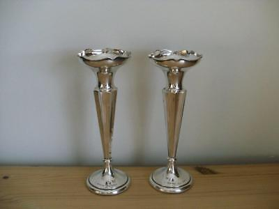 Pair Of Hallmarked Silver Posy Vases Chester 1919