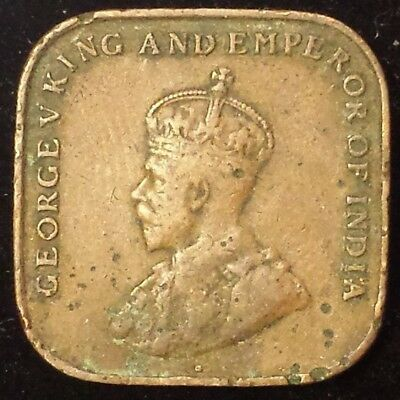 Straits Settlements Cent 1920 Square Bronze Coin Malaysia King George Britain