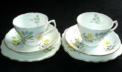 ROYAL VALE Yellow Buttercup RIDGWAY Bone China Trio x 2 c1960