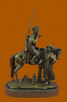 Hand Made Scene Bronze Sculpture Arab Man on Horse Woman Bronze Statue UG