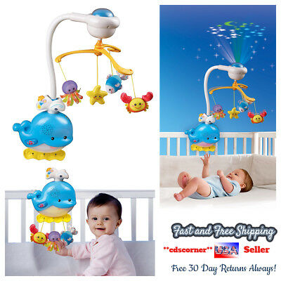 Baby Crib Toys Musical Mobile Star Projector 45+ Melodies Soothing Sounds Ocean