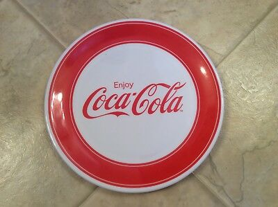 Enjoy Coca Cola Dinner Plate Plastic Red & White by Gibson Gently Used