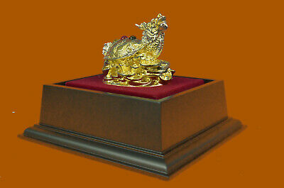 Hand Made 100% Real Bronze Chinese Dragon Sign of Good Luck 24K Gold Plated UG
