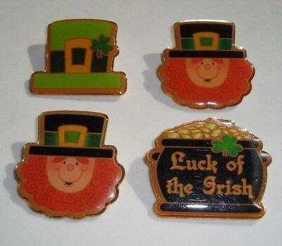 Lot 4 Vintage St. Patrick's Day Lapel Pins Shamrock Leprechaun Pot Gold Brooches
