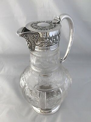 Victorian Silver Mounted Rock Crystal Claret Jug 1885 London William Hutton