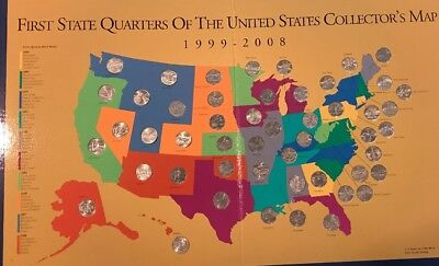 Complete Set First State Quarters US Collector's Map 1999-2008 cert#8776412