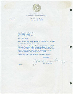 Johnston Murray - Typed Letter Signed 02/01/1952