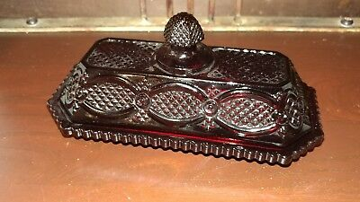 Vintage Avon Ruby Red Glass 1876 Cape Cod Glass 2 Pc. Covered Butter Dish