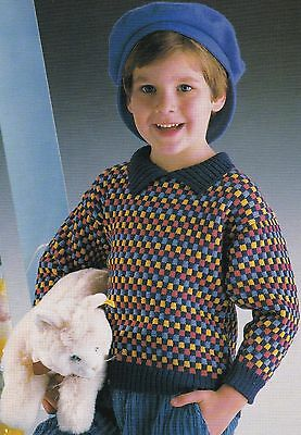 Child's Multi-Coloured Sweater Pattern For Machine Knitting