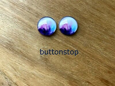 2 x 12mm glass dome cabochons - purple pink & aqua abstract on white