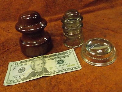 3 Antique Electrical Telephone Line Insulators Glass Pyrex Maydwell Porcelain