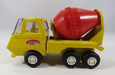 Tonka Vintage Small Cement Concrete Mixer Truck Yellow and Red Pressed Metal JH