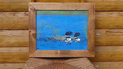 """Two Loons Enjoying a Leisurely Swim (11' x 14"""") Painting by the Artist"""