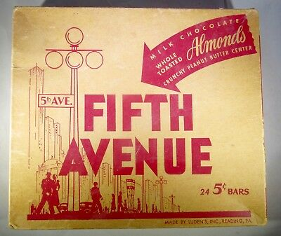 Vintage Advertising Fifth Avenue Candy Bars Ludens 1940s Store Display Box
