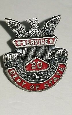 Vintage U.S. Government State Department 20 Year Service Pin Sterling