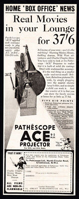 1937 Pathescope Ace Projector print ad - Mickey Mouse, Charlie Chaplin