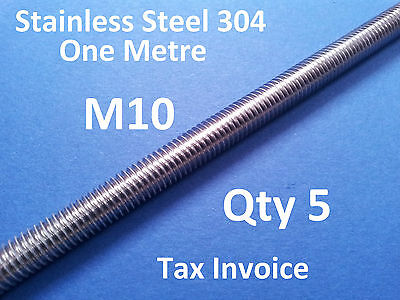 5 X STAINLESS STEEL ALLTHREAD M10 304ss ONE METRE 1000mm x 10mm THREADED ROD BAR